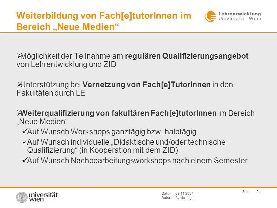 """Weiterbildung von Fach[e]tutorInnen im Bereich """"Neue Medien"""